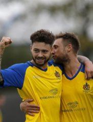 Louie Theophanous celebrates scoring against Bishops Stortford