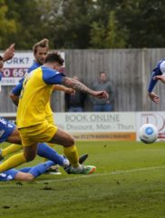 Louie Theophanous reacts quickly in the Bishop's Stortford six yard box to poke the ball towards goal only to see it blocked