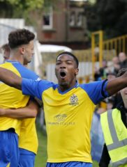 Shaun Lucien celebrates as the Saints go marching into the next round of the FA Cup