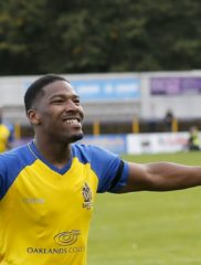 Shaun Lucien celebrates scoring a hattrick as the Saints overcome the rebels