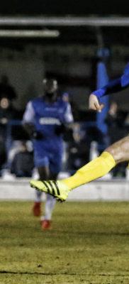 Graeme Montgomery blasts the ball towards goal