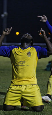 Junior Morias celebrates scoring the Saints second goal of the afternoon, thanks to the great work by Jamie Cureton