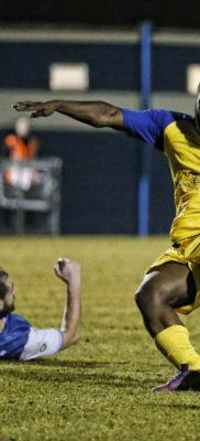 Junior Morias prepares to strike the ball into the back of the net
