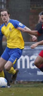 Tom Bender in action against Hampton and Richmond Borough