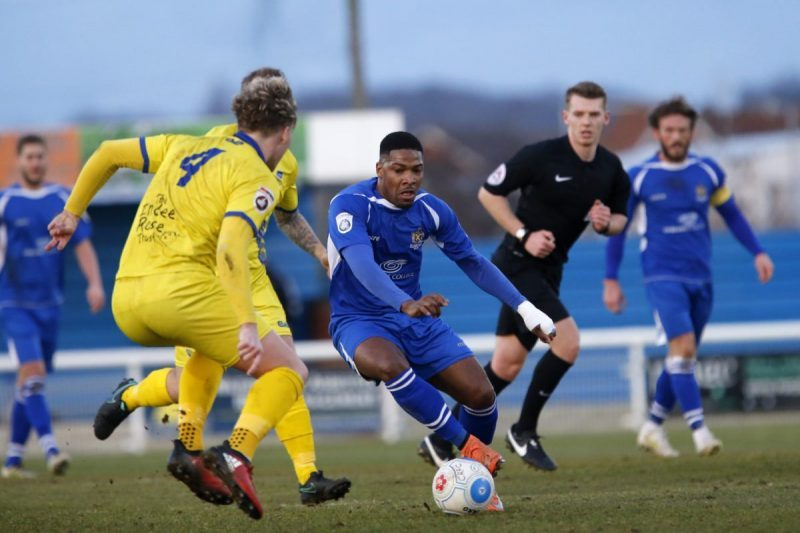 Shaun Lucien in action against Concord Rangers