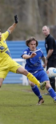 Tom Bender in action against Concord Rangers