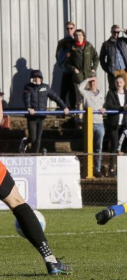 Kieran Monlouis tries to slot the ball into the Dartford goal only to see it the side netting