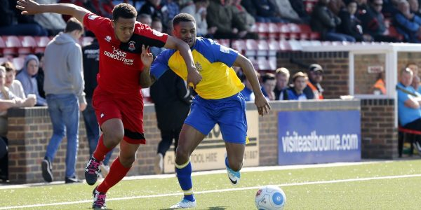 Kieran Monlouis in action against Eastbourne Borough