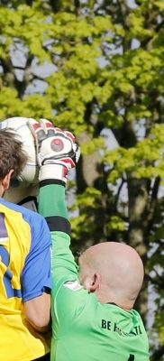 Sam Merson climbs high to nod the ball into the back of the net, but is adjudge to have fouled the keeper