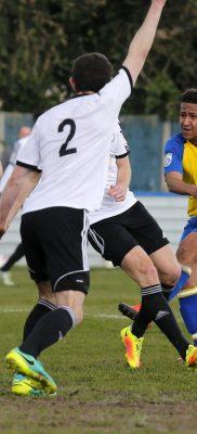 Zane Banton blasts the ball towards goal