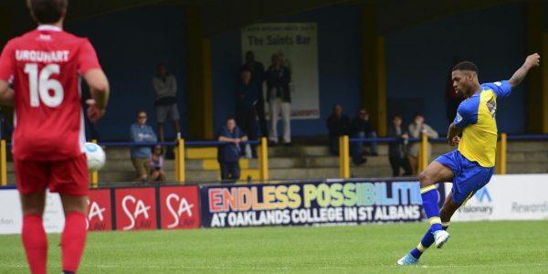 Kieran Monlouis fires a shot at goal
