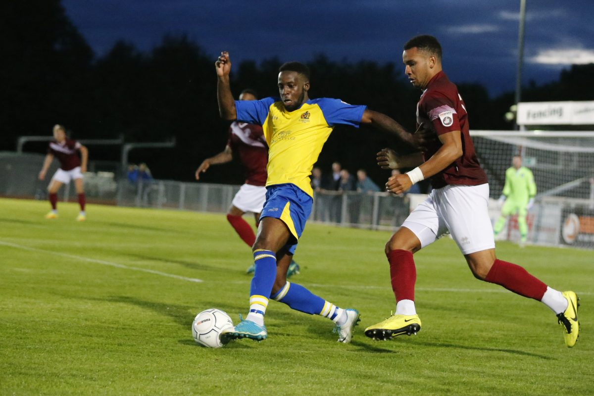 Rhys Murrell-Williamson in action against Chelmsford City