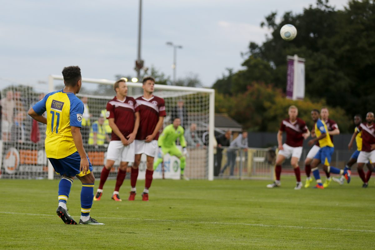 Zane Banton sends in the perfect freekick which Tom Gardiner converted to put the Saints into a first half lead