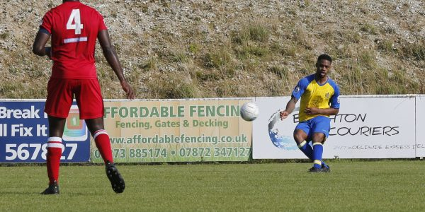 Kieran Monlouis loops the ball into net off the far post