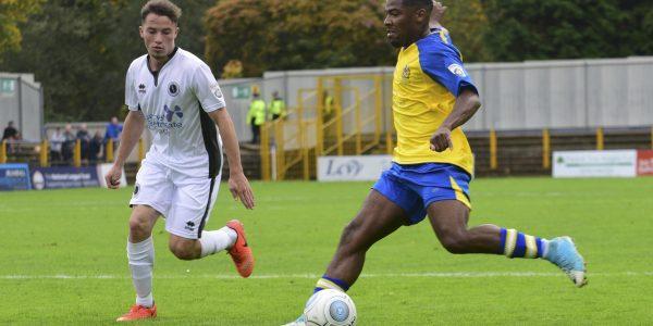 Shaun Lucien in action against Boreham Wood
