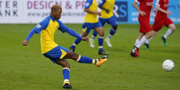 Kieran Monlouis blasts the ball towards the goal