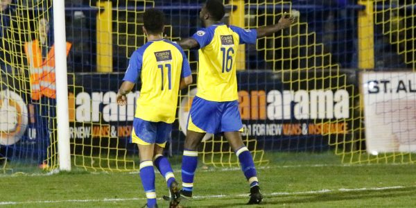 Rhys Murrell-Williamson celebrates after putting the Saints into the hat for the next round of the FA Trophy