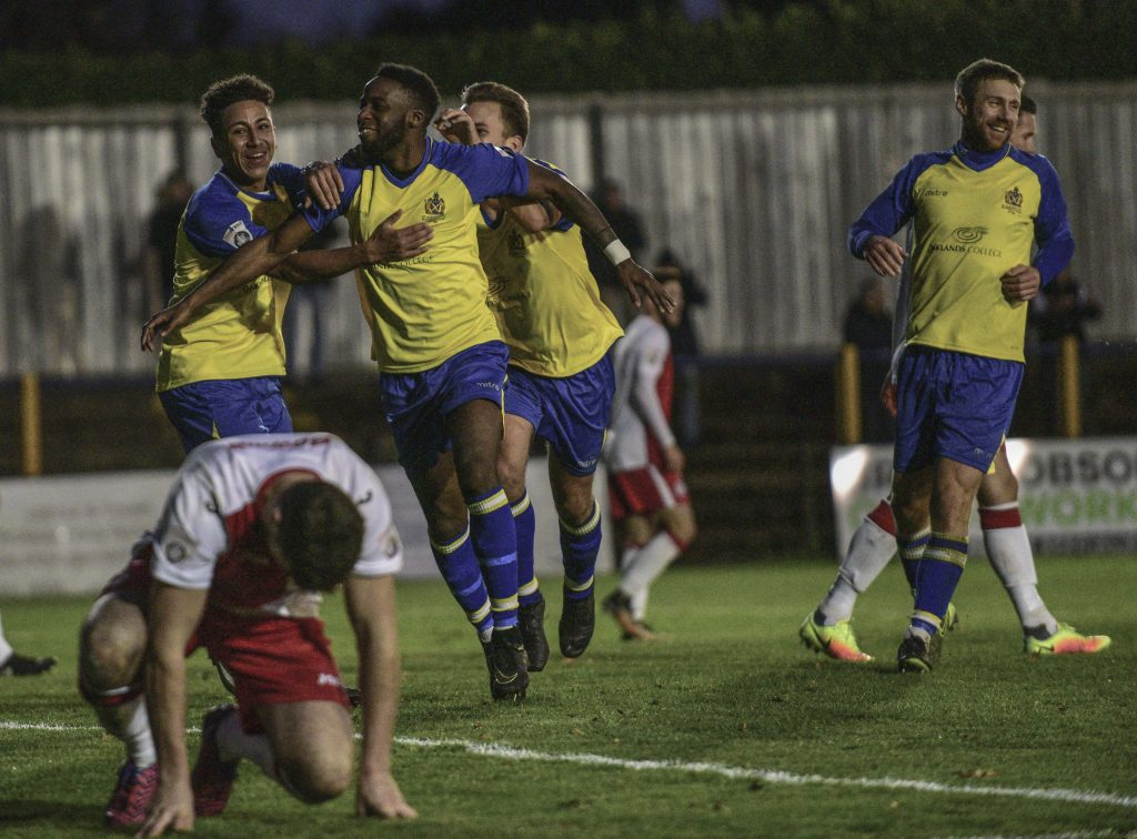 Rhys Murrell-Williamson celebrates putting the Saints back in front