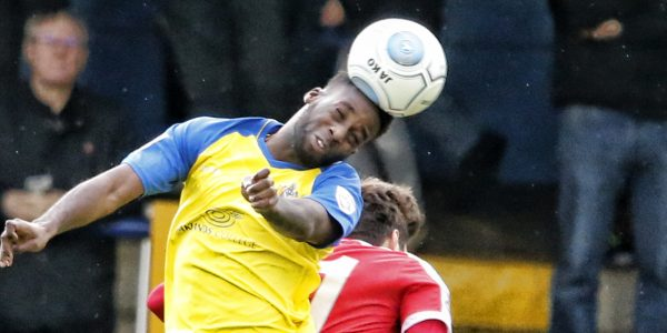 Rhys Murrell-Williamson in action against Welling United