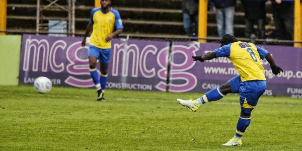 Solomon Sambou blasts the ball towards goal