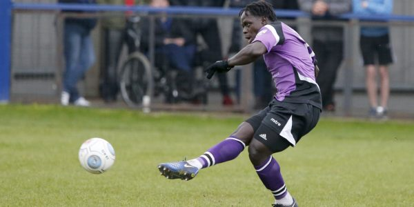 Solomon Sambou in action against Chippenham Town