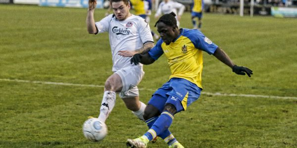 Solomon Sambou in action against Truro City