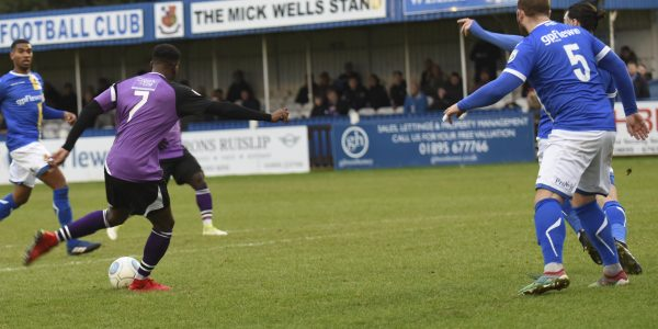Rhys Murrell-Williamson pulls the trigger as he puts the Saints 1-0 ahead