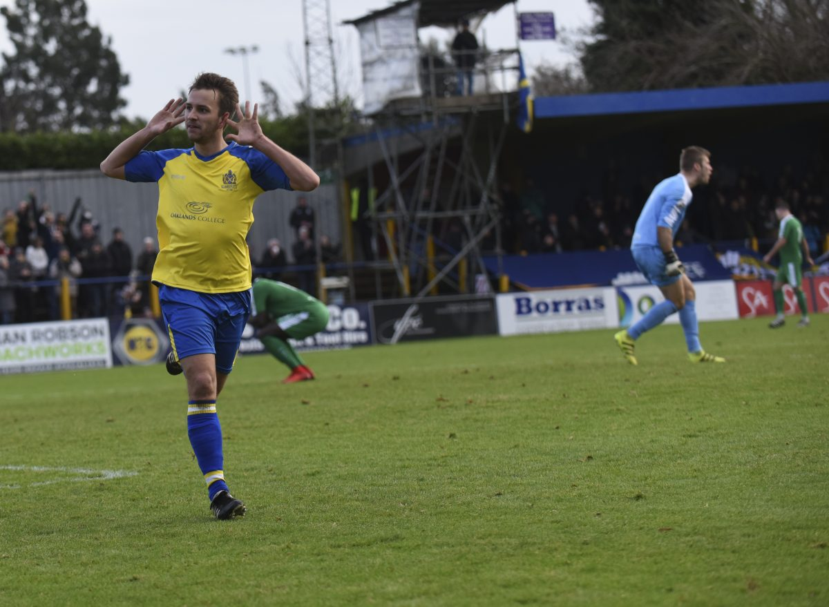 Sam Merson celebrates scoring against Hemel