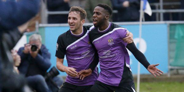 Sam Merson celebrates with goalscorer Rhys Murrell-Williamson