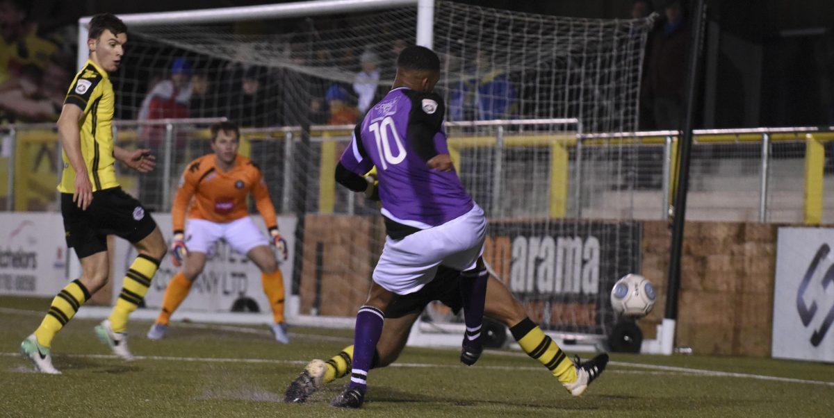 Kieran Monlouis in action against Harrogate Town