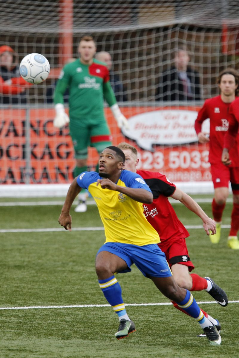 Shaun Lucien in action against Eastbourne Borough