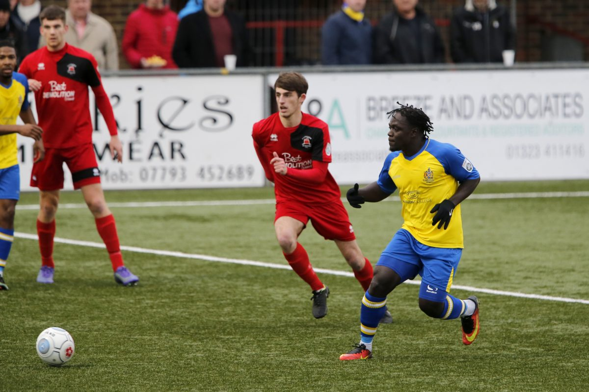 Solomon Sambou in action against Eastbourne Borough