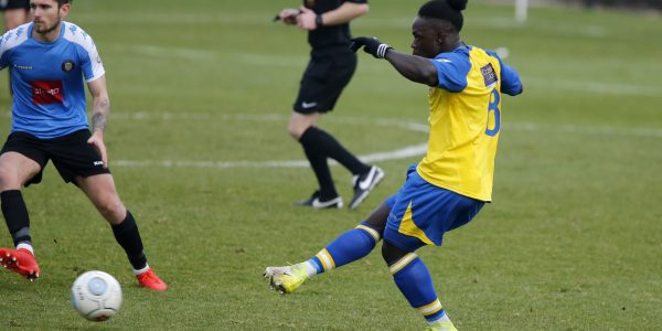 Solomon Sambou in action against Harrogate Town
