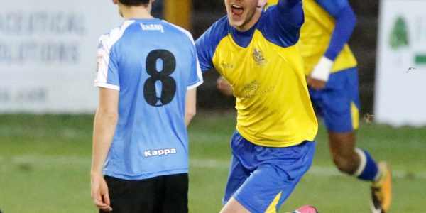 Tom Bender celebrating the opening goal of the game
