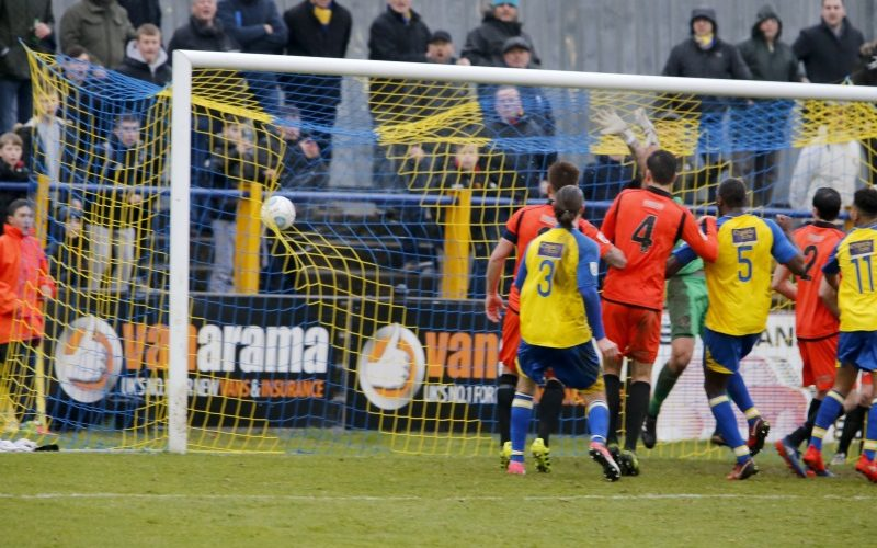 In the back of the net: Sam Merson heads the ball into the back of the net