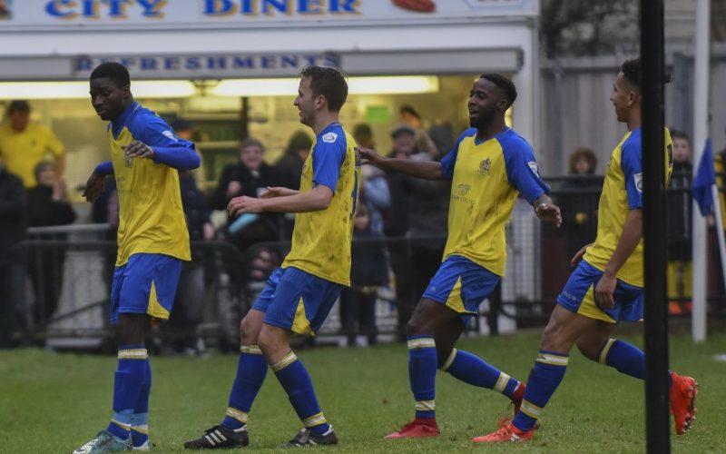Percy Kiangebeni gets his goal celebration underway
