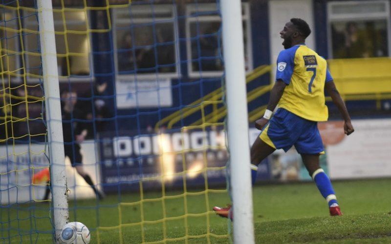 Rhys Murrell-Williamson celebrates getting the Saints fourth goal