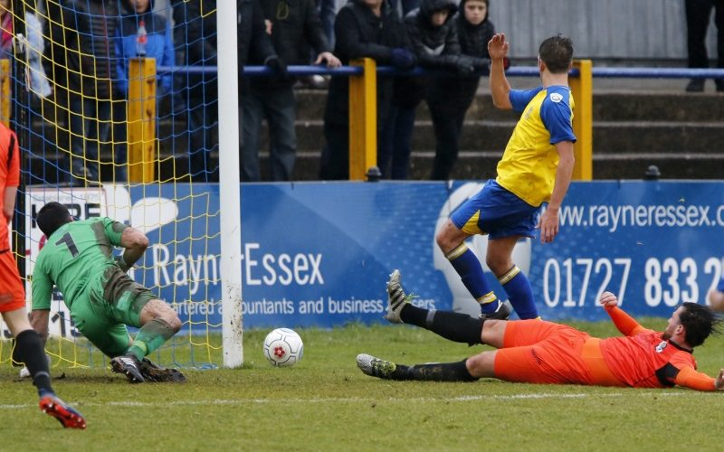 Sam Merson has a shot turned round the post