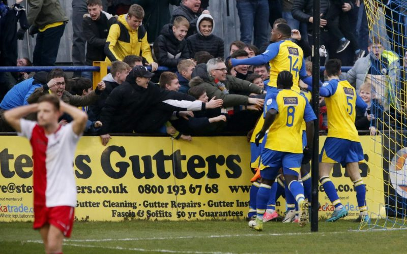 Players and fans celebrate as the Saints grab the winner in the dying seconds of the game