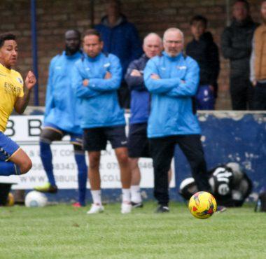 Zane Banton in action vs Barton Rovers